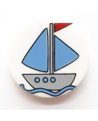 novelty button boat with shank - Size: 17mm - Color: white  - Art.No. 261278