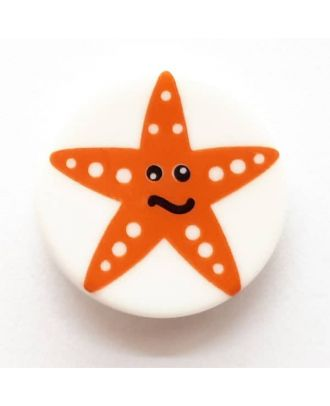 novelty button starfish with shank - Size: 17mm - Color: white  - Art.No. 261280