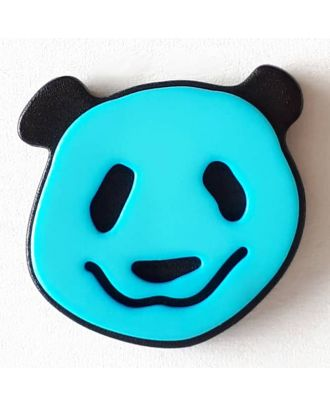 novelty button panda with shank - Size: 22mm - Color: blue - Art.No. 331111