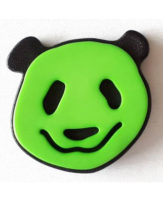 novelty button panda with shank - Size: 22mm - Color: green - Art.No. 331112