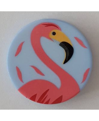 novelty button flamingo with shank - Size: 18mm - Color: blue - Art.No. 281089