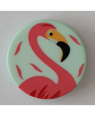 novelty button flamingo with shank - Size: 15mm - Color: green - Art.No. 261294