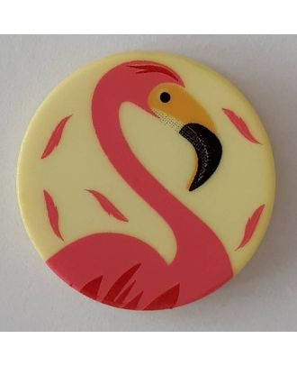 novelty button flamingo with shank - Size: 15mm - Color: yellow - Art.No. 261296
