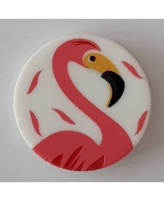 novelty button flamingo with shank - Size: 15mm - Color: white - Art.No. 261292