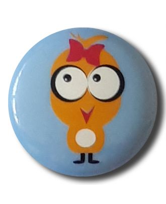 """novelity button """"chicken"""" with shank - Size: 15mm - Color: blue/light blue - Art.No. 261309"""