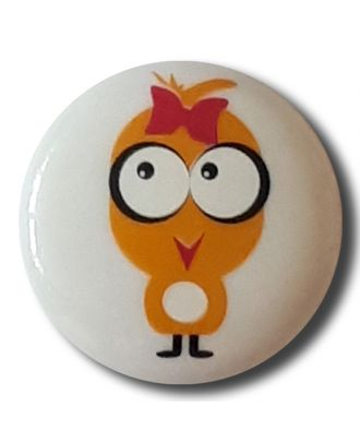 "novelity button ""chicken"" with shank - Size: 15mm - Color: white - Art.No. 261313"