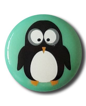 "novelity button "" penguin"" with shank - Size: 15mm - Color: gentle/light green - Art.No. 261311"