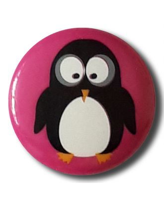 "novelity button "" penguin"" with shank - Size: 15mm - Color: pink - Art.No. 261312"