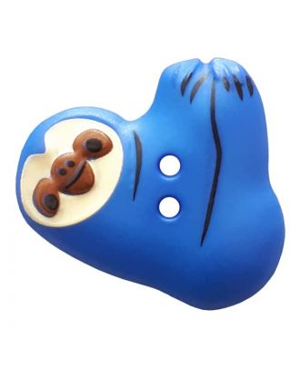 novelity button sloth with two holes - Size: 25mm - Color: blau - Art.No. 341300