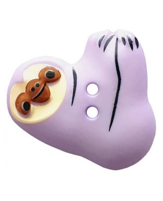 novelity button sloth with two holes - Size: 25mm - Color: lila - Art.No. 341301
