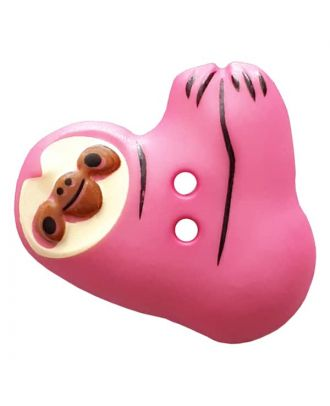 novelity button sloth with two holes - Size: 25mm - Color: pink - Art.No. 341303