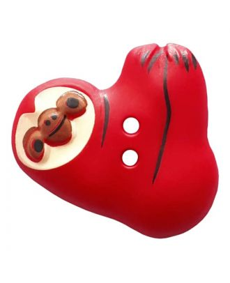 novelity button sloth with two holes - Size: 25mm - Color: rot - Art.No. 341304