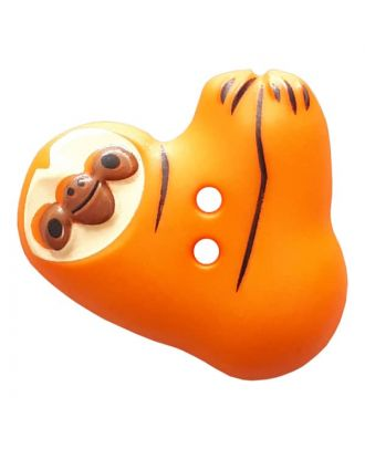 novelity button sloth with two holes - Size: 25mm - Color: orange - Art.No. 341306