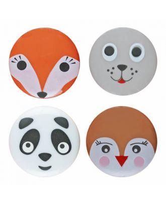 mixed children button panda, bird, seal and fox with shank - Size: 15mm - Color: mixed - Art.No. 261352