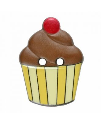 Cupcake button with two holes - Size: 20mm - Color: brown - Art.No. 311070