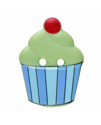 Cupcake button with two holes - Size: 20mm - Color: green - Art.No. 311062