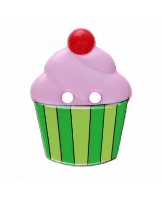 Cupcake button with two holes - Size: 20mm - Color: pink - Art.No. 311063