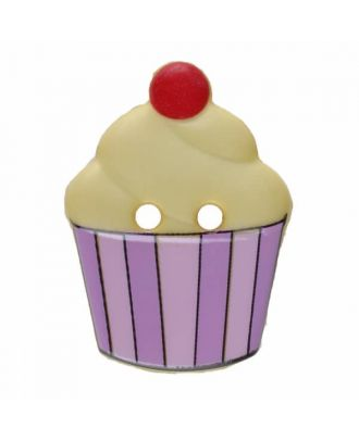 Cupcake button with two holes - Size: 20mm - Color: yellow - Art.No. 311064
