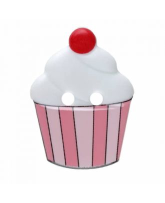 Cupcake button with two holes - Size: 20mm - Color: white - Art.No. 311069