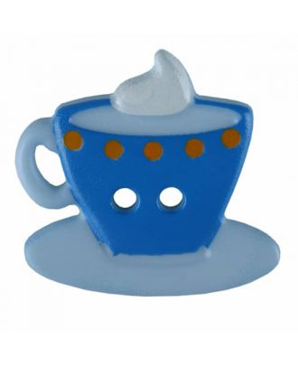 Coffee or Tea button with two holes - Size: 20mm - Color: blue - Art.No. 311077