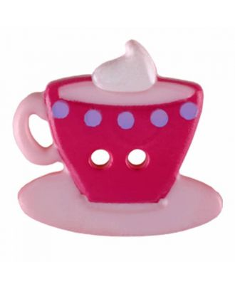Coffee or Tea button with two holes - Size: 20mm - Color: pink - Art.No. 311079