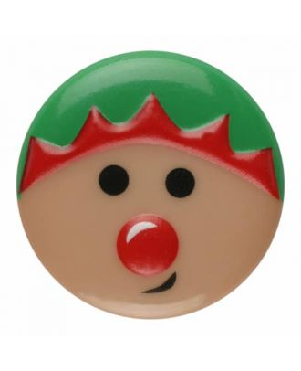 children button christmas elf with shank - Size: 15mm - Color: pink - Art.No. 261360