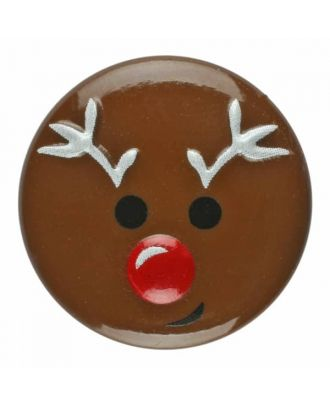 children button reindeer with shank - Size: 18mm - Color: brown - Art.No. 281177