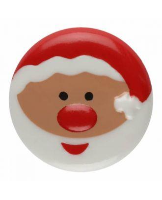children button santa claus with shank - Size: 18mm - Color: white - Art.No. 281178