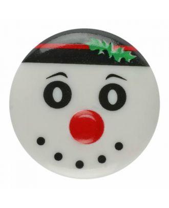 children button snowman with shank - Size: 18mm - Color: white - Art.No. 281179