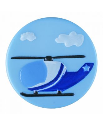 children polyamide button round shape with helicopter and shank - Size: 18mm - Color: blue - Art.-Nr.: 281187