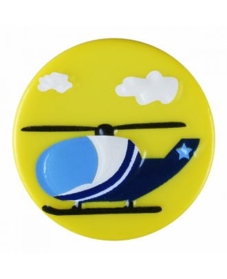 children polyamide button round shape with helicopter and shank - Size: 18mm - Color: yellow - Art.-Nr.: 281188