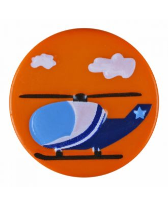 children polyamide button round shape with helicopter and shank - Size: 18mm - Color: orange - Art.-Nr.: 281189