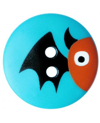 children button polyamide round shape with bat print and 2 holes - Size: 15mm - Color: blau - Art.No.: 261412