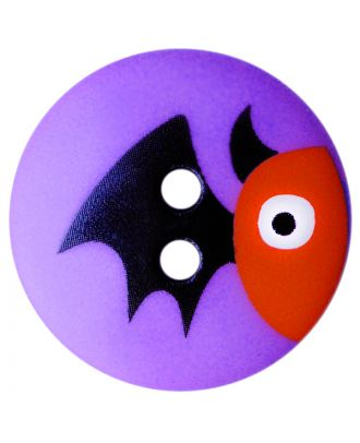 children button polyamide round shape with bat print and 2 holes - Size: 15mm - Color: lila - Art.No.: 261413
