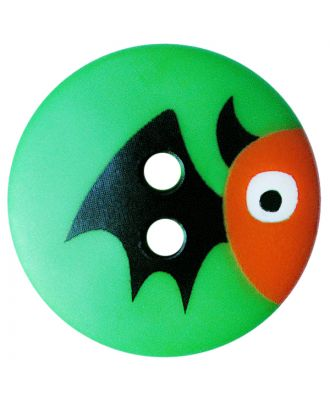 children button polyamide round shape with bat print and 2 holes - Size: 15mm - Color: grün - Art.No.: 261414