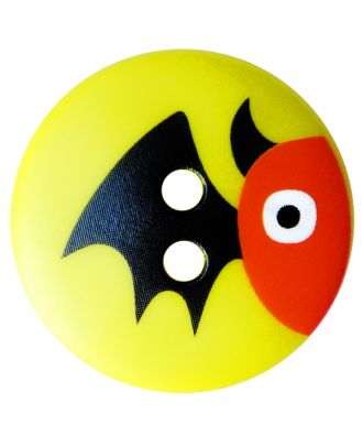 children button polyamide round shape with bat print and 2 holes - Size: 15mm - Color: gelb - Art.No.: 261415