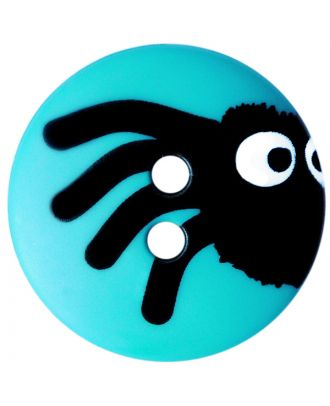 children button polyamide round shape with spider print and 2 holes  - Size: 20mm - Color: blau - Art.No.: 301004