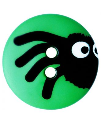 children button polyamide round shape with spider print and 2 holes  - Size: 15mm - Color: grün - Art.No.: 261418