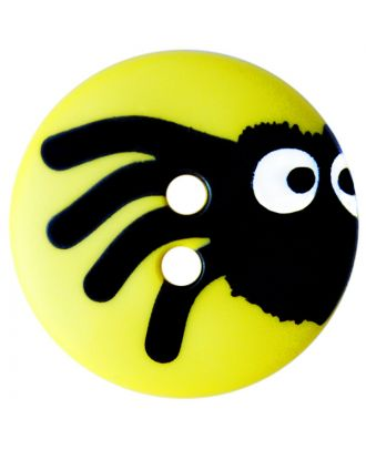 children button polyamide round shape with spider print and 2 holes  - Size: 15mm - Color: gelb - Art.No.: 261419