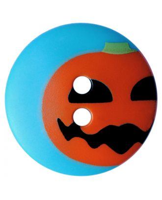 children button polyamide round shape with pumpkin print and 2 holes - Size: 15mm - Color: blau - Art.No.: 261420