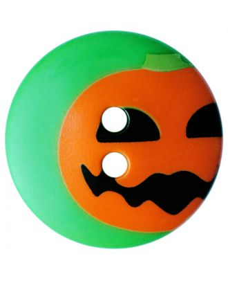 children button polyamide round shape with pumpkin print and 2 holes - Size: 20mm - Color: grün - Art.No.: 301010