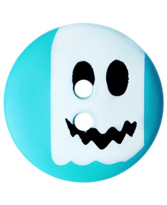 children button polyamide round shape with ghost print and 2 holes - Size: 15mm - Color: blau - Art.No.: 261424