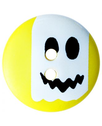 children button polyamide round shape with ghost print and 2 holes - Size: 15mm - Color: gelb - Art.No.: 261427
