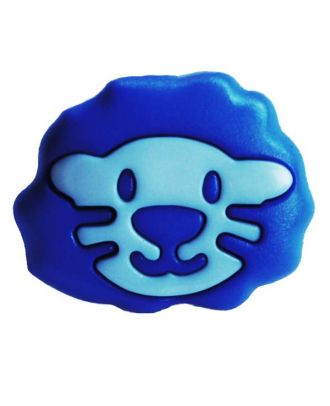 children button polyamide shape of a lion head and shank - Size: 18mm - Color: blau - Art.No.: 281211