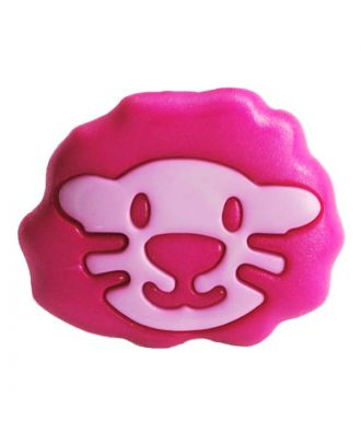 children button polyamide shape of a lion head and shank - Size: 18mm - Color: pink - Art.No.: 281212