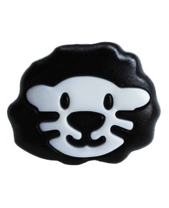 children button polyamide shape of a lion head and shank - Size: 18mm - Color: weiß - Art.No.: 281209