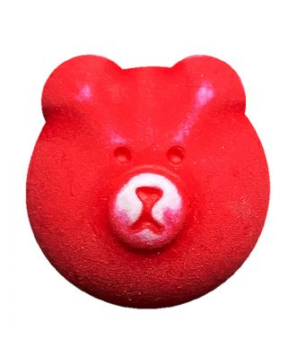 children button teddy bear polyamide with shank - Size: 18mm - Color: rot - Art.No.: 311134