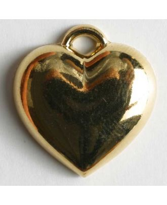 Heart button, metallized plastic - Size: 20mm - Color: gold - Art.No. 280507