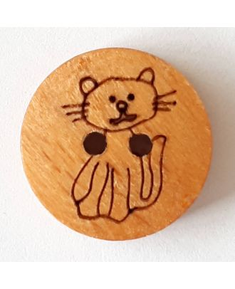 novelty button wood cat with 2 wholes - Size: 18mm - Color: brown - Art.No. 261289