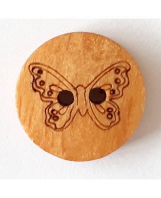 novelty button wood butterfly with 2 wholes - Size: 18mm - Color: brown - Art.No. 261290